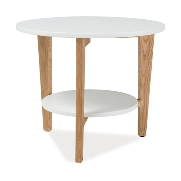Bílý odkládací stolek s odkládacím prostorem Signal Larvik, ⌀60cm