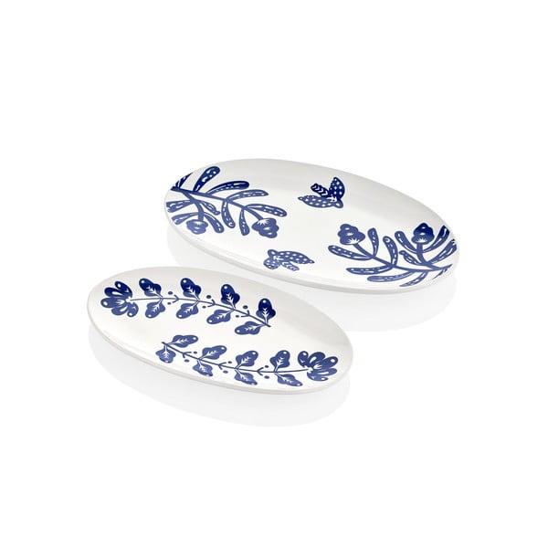 Sada 2 bílých porcelánových talířů Mia Bloom