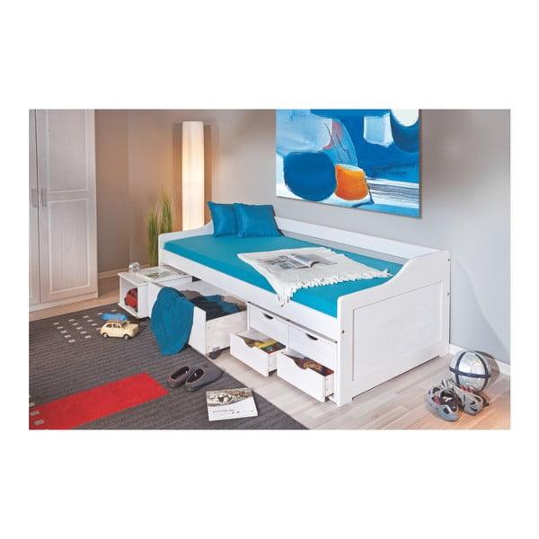 Bílá postel z masivního borovicového dřeva Interlink Floro, 90 x 200 cm