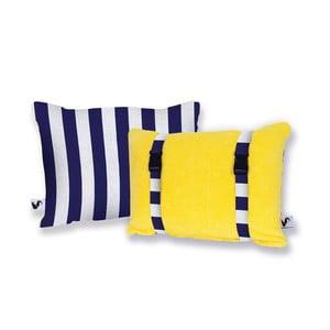 Žlutý oboustranný plážový polštář Origama Blue Stripes