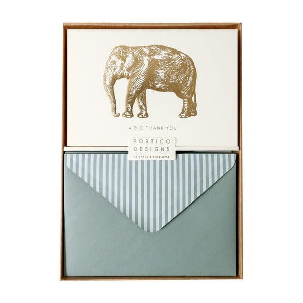 Zestaw 10 kart okolicznościowych Portico Designs FOIL Big Elephant