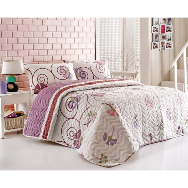 Přehoz přes postel a povlaky na polštář Daydream Lilac, 200x220 cm