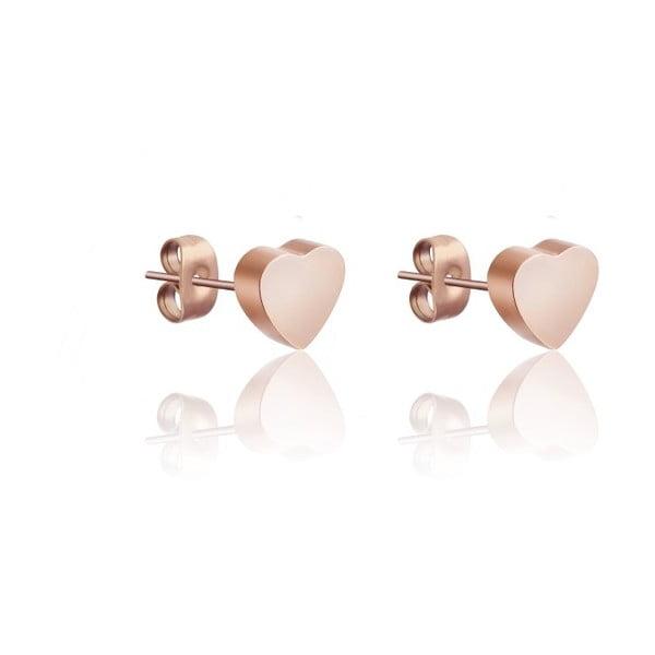 Cercei oțel chirurgical Victoria Walls Hearts, roz-auriu