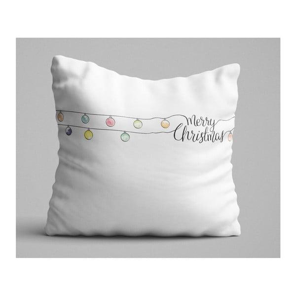 Christmas Lights fehér díszpárna, 45 x 45 cm