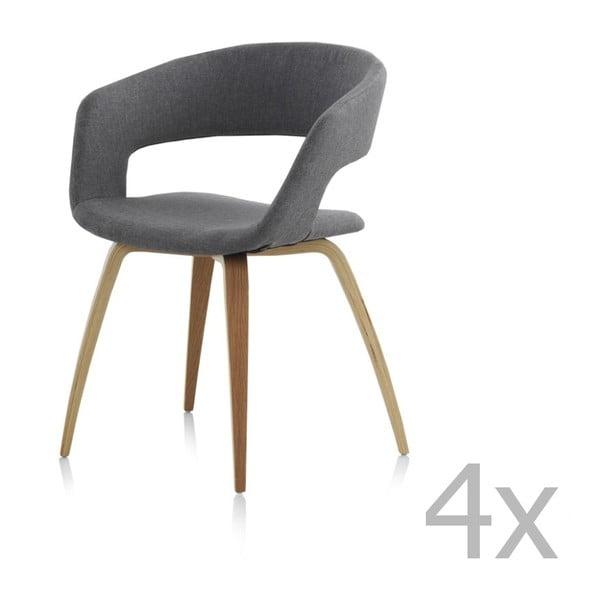 Sada 4 dřevěných jídelních židlí s šedým polstrováním Geese
