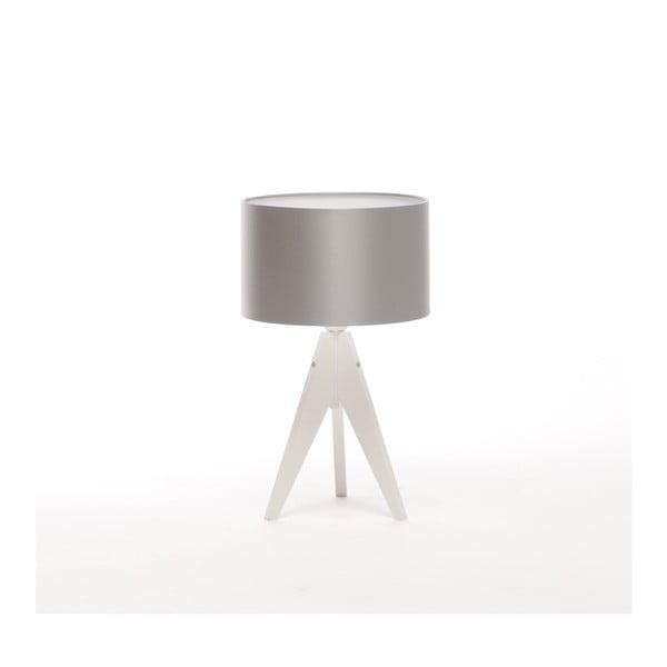 Stříbrná  stolní lampa 4room Artist, bílá bříza lakovaná, Ø 25 cm