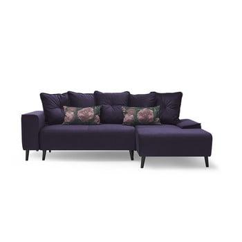 Canapea extensibilă cu șezlong pe partea dreaptă Bobochic Paris Hera Bis, mov de la Bobochic Paris