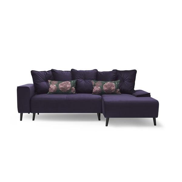 Hera Bis lila kinyitható kanapé, jobb sarok - Bobochic Paris