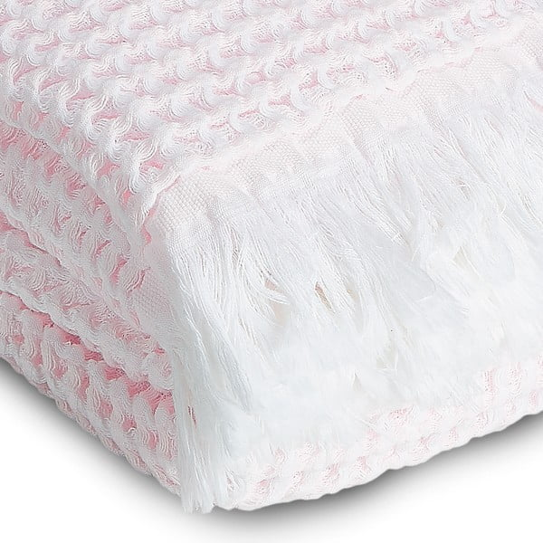 Osuška Whyte 100x160 cm, bílá/růžová