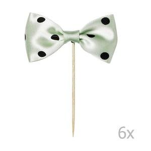 Sada 6 zelených zapichovacích dekorací na dort Miss Étoile Bow