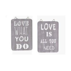 Sada 2 dřevěných cedulek Ego Dekor Love