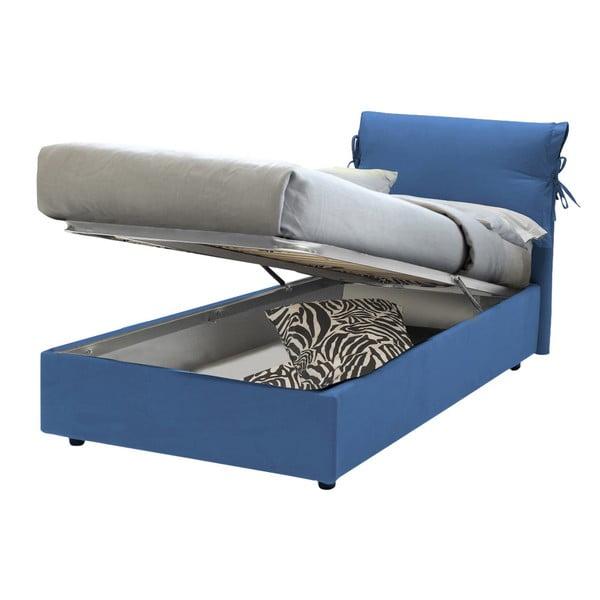 Modrá jednolůžková postel s úložným prostorem 13Casa Iris, 90x190cm
