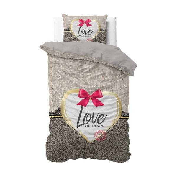 Lenjerie de pat din bumbac Sleeptime Wild Love Tres Taupe, 140 x 220 cm