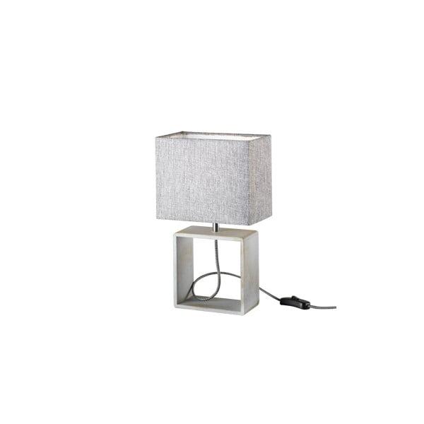 Šedá stolní lampa z přírodního dřeva a tkaniny Trio Tick, výška 34 cm