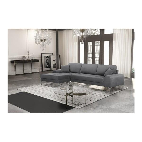 Set canapea gri cu șezlong pe partea stângă, 4 scaune gri-verde și saltea 160 x 200 cm Home Essentials