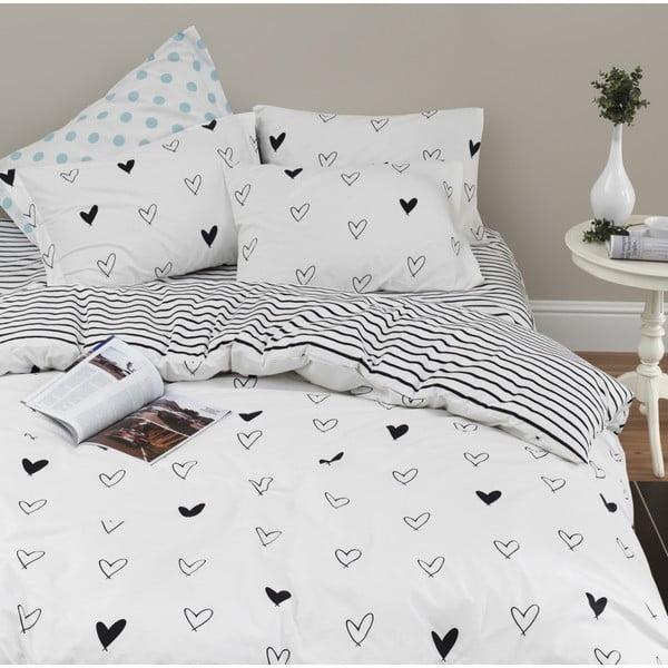 Lenjerie de pat cu cearșaf din bumbac ranforce, pentru pat dublu Mijolnir Eveline White, 160 x 220 cm