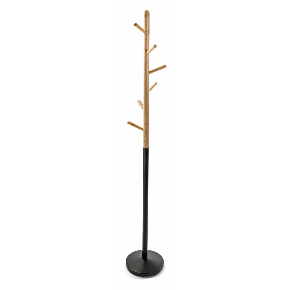Černý věšák s dřevěnými prvky VERSA Clothes, výška 180 cm