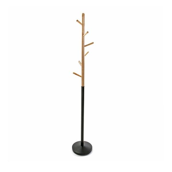 Czarny wieszak z drewnianymi detalami VERSA Clothes, wys. 180 cm