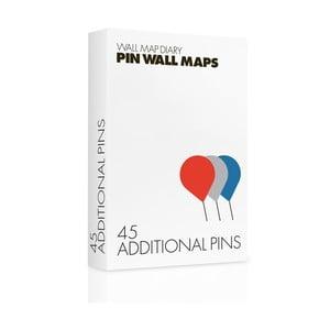 Náhradní špendlíky k mapě Pin World 45 ks, barevné