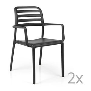 Sada 2 antracitových zahradních židlí Nardi Costa