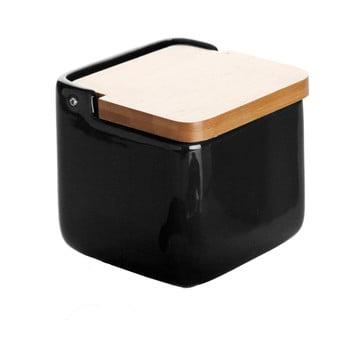 Doză din ceramică pentru sare Versa Black Salt Box de la Versa