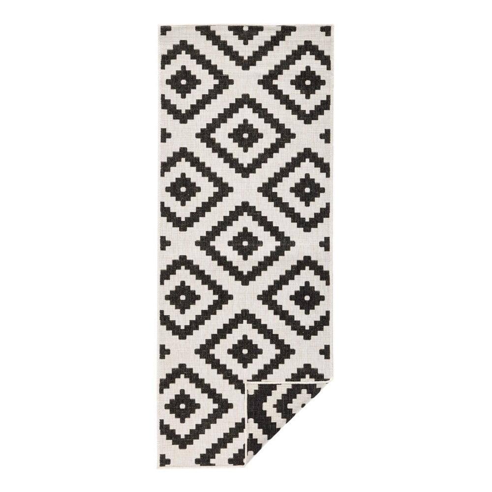Černo-krémový venkovní koberec Bougari Malta, 80 x 250 cm