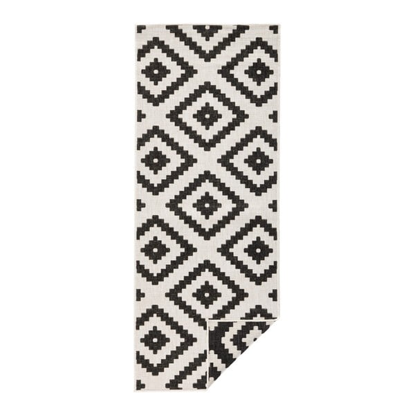 Malta fekete-krémszínű kültéri szőnyeg, 80 x 350 cm - Bougari