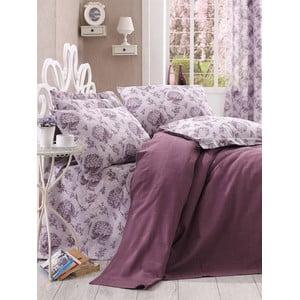 Přehoz s prostěradlem Purple Floral, 160x235 cm