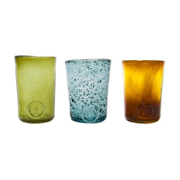 Set tří sklenic, modrá