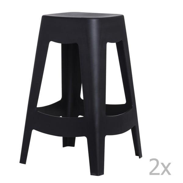Sada 2 černých barových židlí D2 Tower