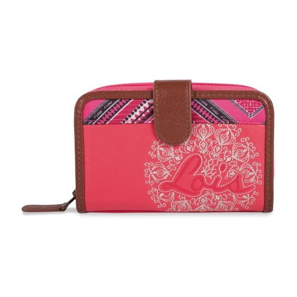 Růžovo-bílá peněženka Lois, 14 x 9 cm
