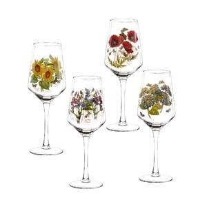 Sada 4 ks skleniček na víno s motivem květin Portmeirion, 450 ml