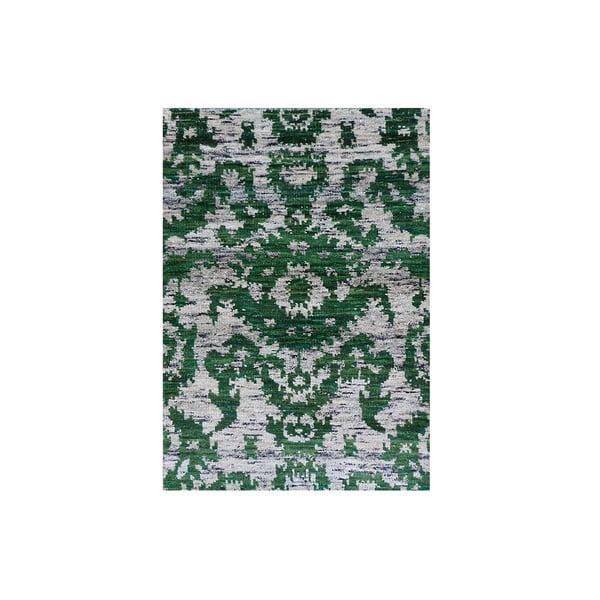 Zelený vlněný koberec Ikat, 230x160 cm