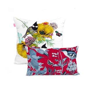 Sada 2 bavlněných povlaků na polštář Happy Friday Birds of Paradise