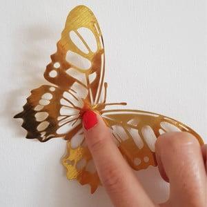 Sada 36 samolepicích nástěnných motýlů ve zlaté barvě Ambiance Butterflies Gold