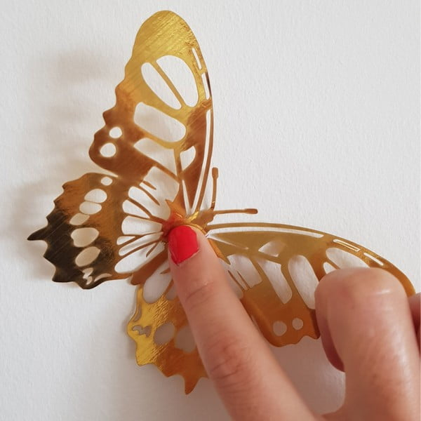 Set 36 autocolante de perete sub formă de fluturi Ambiance Butterflies, auriu