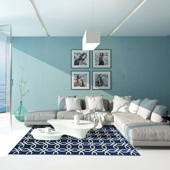 Covor foarte rezistent Floorita Ropes, 133x190cm, albastru închis