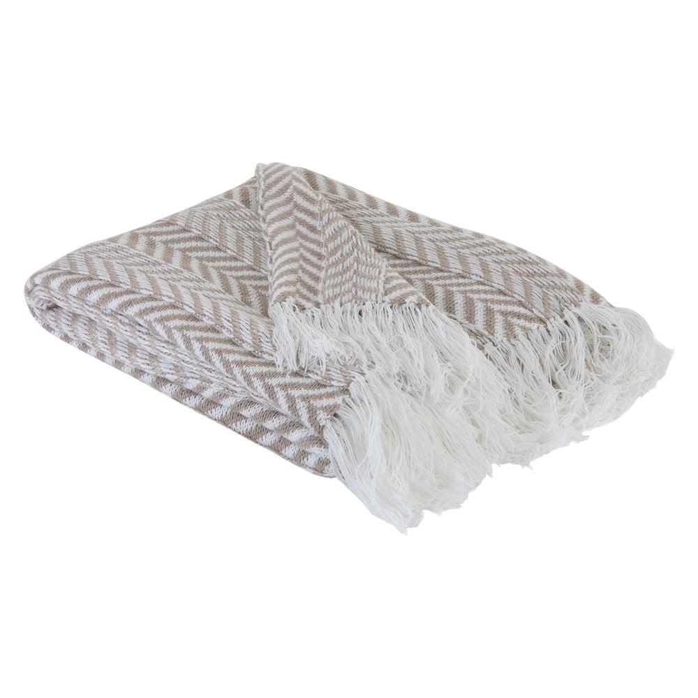 Bílo-hnědý pléd Bella Maison Terra Throw, 130 x 170 cm