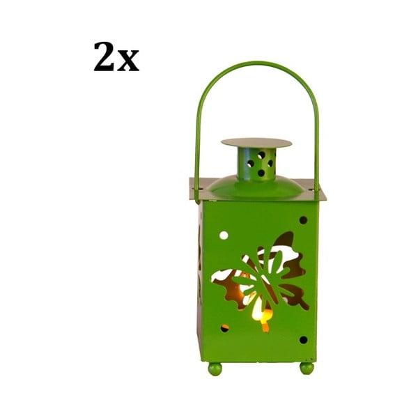 Set dvou zelených luceren s LED žárovkou