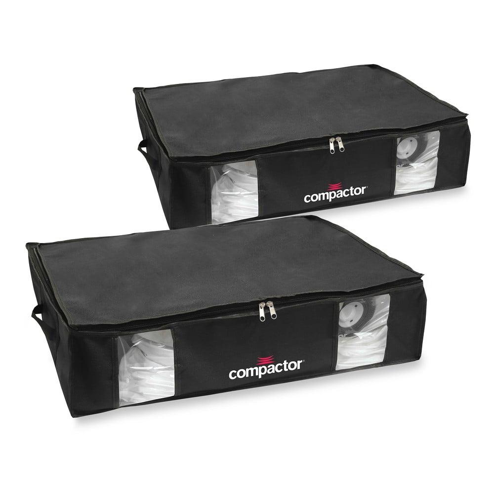 Sada 2 černých úložných boxů s vakuovým obalem Compactor Large Underbed Vacuum Bag