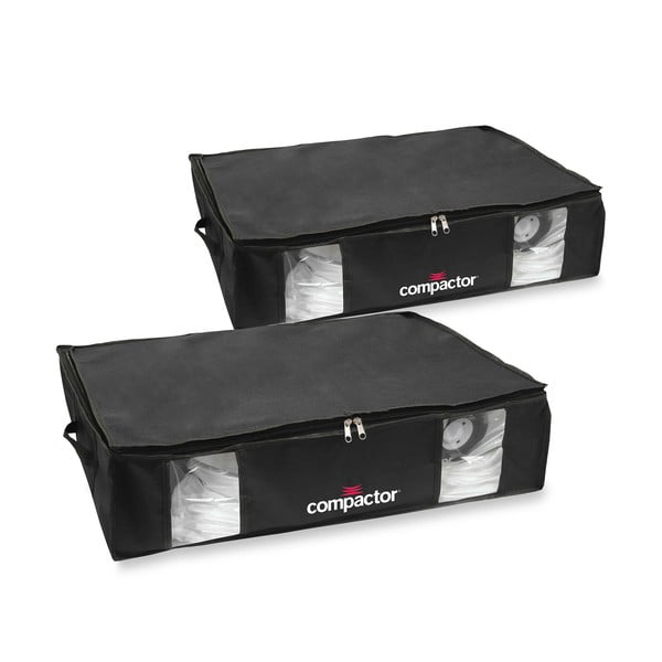 Zestaw 2 czarnych organizerów z workiem próżniowym Compactor Large Underbed Vacuum Bag