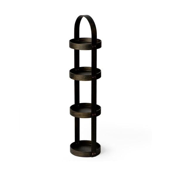Dřevěný stojan do koupelny z dubového dřeva Wireworks Round Caddy Dark, 4 police