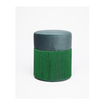 Puf cu husă din catifea Velvet Atelier, ø 36 cm, verde de la Velvet Atelier