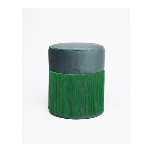 Zelený puf se sametovým potahem Velvet Atelier, ø36cm