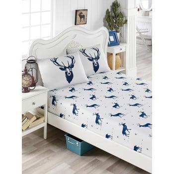 Set lenjerie și 2 fețe pernă din amestec de bumbac, pentru pat dublu EnLora Home Geyik Dark Blue, 160 x 200 cm de la EnLora Home