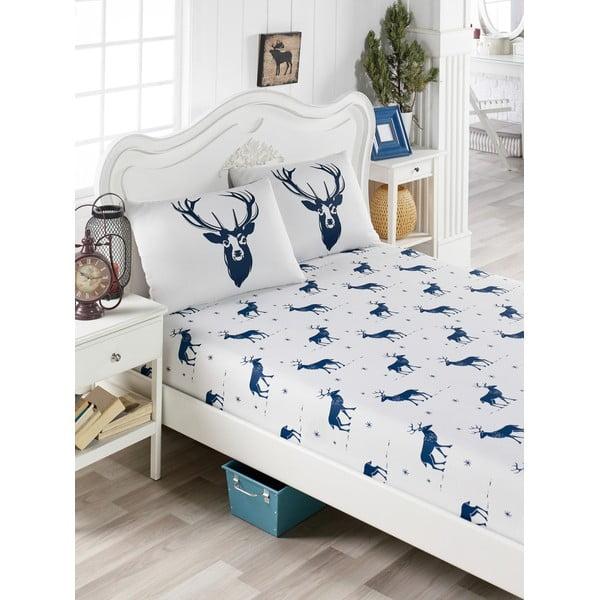 Set lenjerie și 2 fețe pernă din amestec de bumbac, pentru pat de o persoană EnLora Home Geyik Dark Blue, 100 x 200 cm