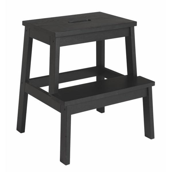 Czarny stołek z drewna dębowego/schodki Folke Nanna