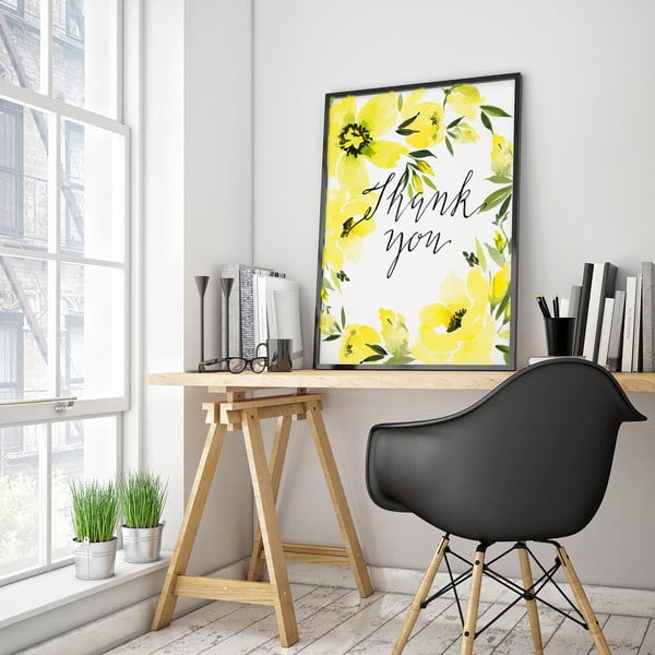 Plakát se žlutými květinami Thank You, 30 x 40 cm
