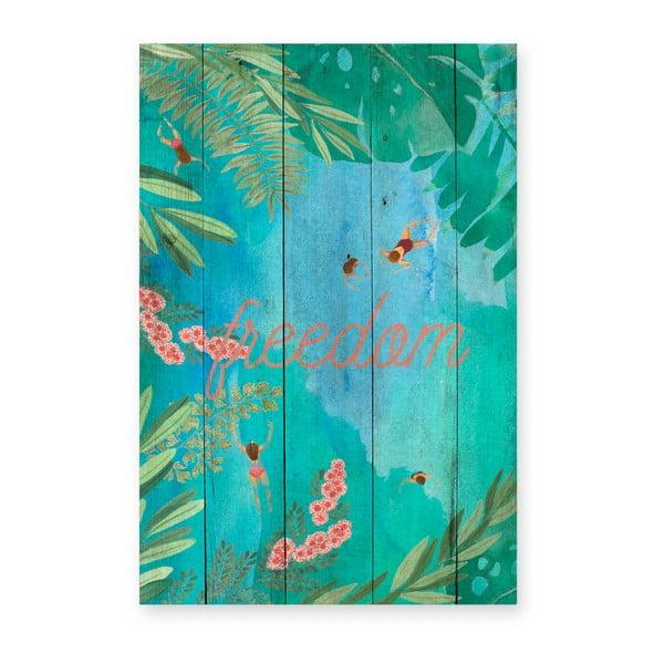 Dřevěná nástěnná dekorativní cedule Surdic Tabla Lago, 40 x 60 cm