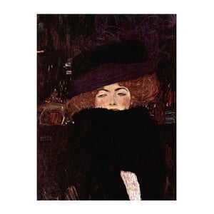 Reproducere tablou Gustav Klimt - Lady with Hat And Feather Boa, 70 x 50 cm
